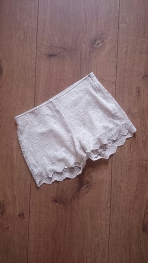 Spitzen Lace Häkel Crochet Shorts Hot Pants creme nude 36 S