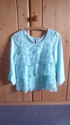 Spitzen Lace Rüschen Volant Lagen Shirt Bluse türkis blau 34 XS