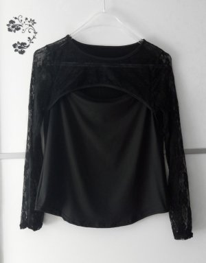 Spitzen Langarmshirt mit Cut Out Ausschnitt Schwarz Gr. 38/40 Neu