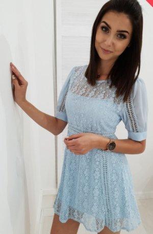 Vestido de encaje azul claro-azul celeste