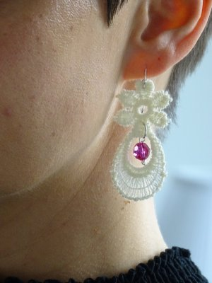 Statement Earrings white-raspberry-red