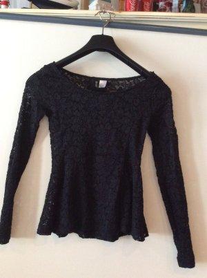 Spitzen Peblum Langarmshirt von H&M in Gr S schwarz neu
