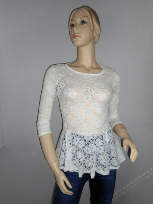 Spitzen-Schößchen-Shirt mit 3/4 Arm