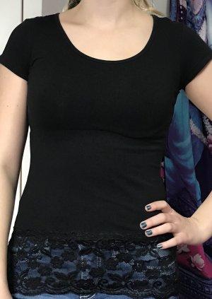 Spitzen-shirt in schwarz