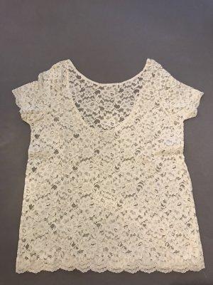 Spitzen-Shirt mit rundem Rückenausschnitt