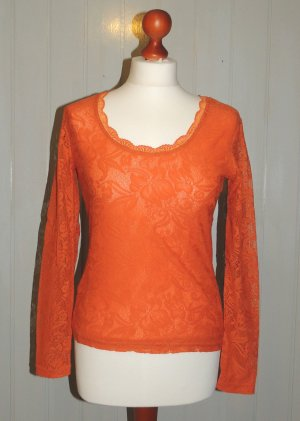Spitzen-Shirt orange von Heine Gr. 36