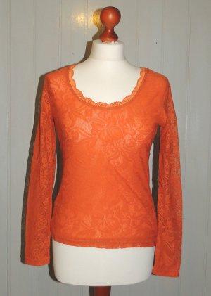 Spitzen-Shirt orange von Heine Gr. 36