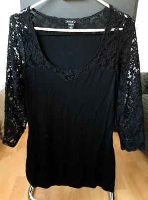 Spitzen Shirt Schwarz Neu
