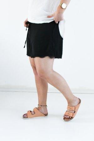 Spitzen Shorts schwarz XL 40 42 Sommer Hose mit Gummibund lässige Shorts im Blogger style