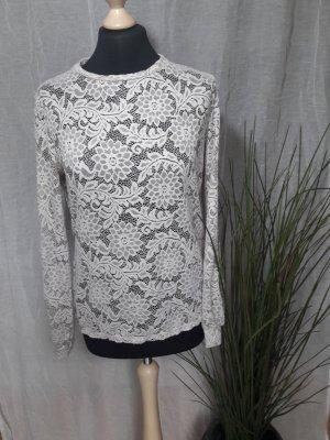 Spitzen Sweater Longsleeve Pullover Puffärmel Rundhals