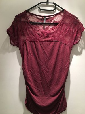 Spitzen T-Shirt in Bordeaux