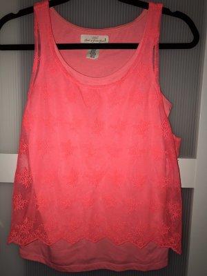 H&M Top de encaje rojo neón-rosa neón