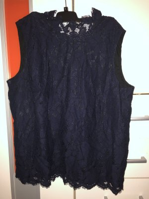 H&M Top de encaje negro-azul oscuro