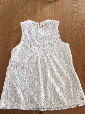 H&M Top de encaje blanco puro-crema