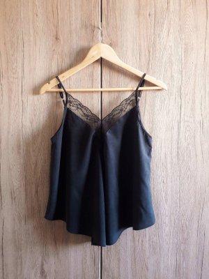 Zara Trafaluc Top de encaje negro-gris antracita