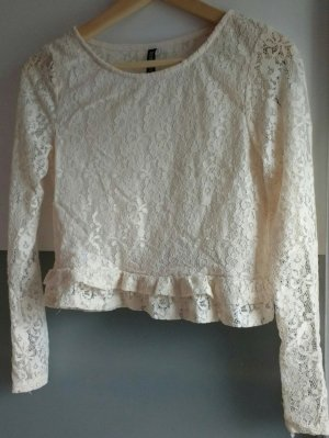 H&M Blusa in merletto bianco sporco