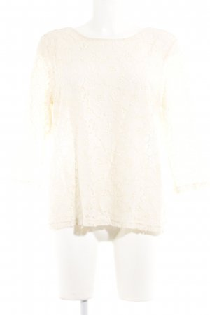 Spitzenbluse creme Blumenmuster Casual-Look