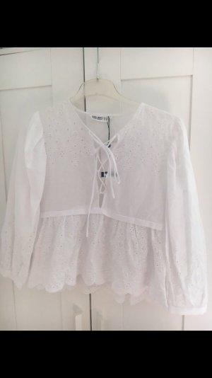 Zara Blusa de encaje blanco
