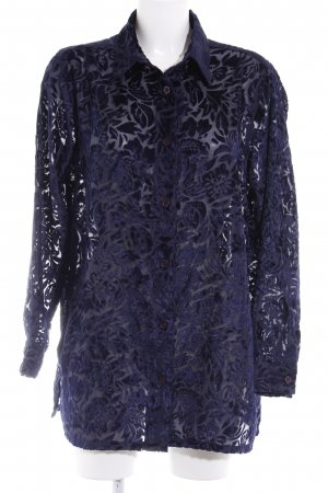 Blusa in merletto blu scuro motivo floreale elegante