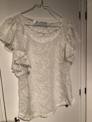 Zara Basic Blouse en dentelle blanc