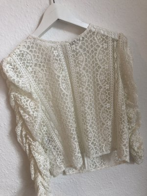 Mango Kanten blouse wit-room