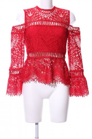 Spitzenbluse rot florales Muster Casual-Look