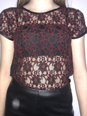 Spitzenbluse rot schwarz