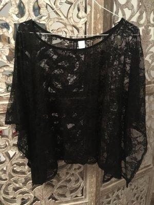 Spitzenbluse - schwarz