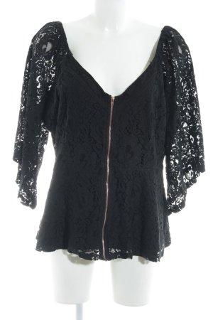 Kanten blouse zwart bloemenprint feest stijl