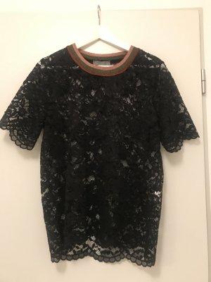 Spitzenbluse schwarz Hallhuber