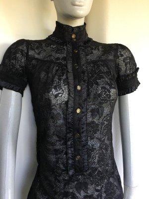 Spitzenbluse Spitzentop Bluse Shirt Top Spitze Rüschen Volants Mango Zara gold schwarz