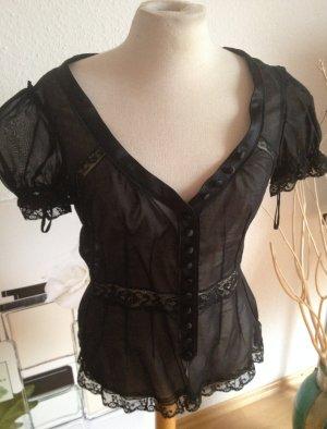 Spitzenbluse von D&G Dolce & Gabbana, schwarz, durchsichtig