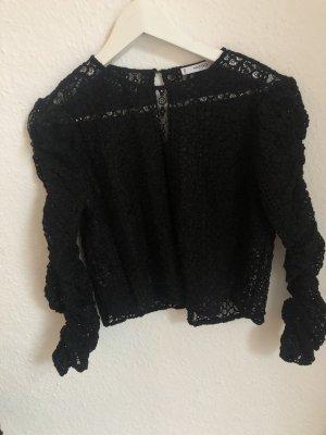 Mango Kanten blouse zwart