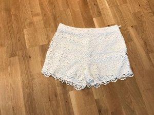 Hallhuber Pantalón corto de talle alto blanco puro