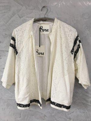 8PM Veste chemisier noir-blanc cassé