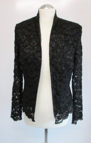 Spitzenjacke Blazer Chou Chou Größe M 40 figurbetont Schwarz Lurex Spitze Jacke Cardigan Abendmode Gothik Paris