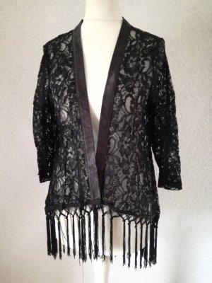 Spitzenjacke mit Fransen Transparent Spitzen Jacke Spitze Cardigan Kimono Cape