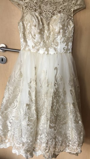 Chi Chi London Wedding Dress gold-colored-natural white