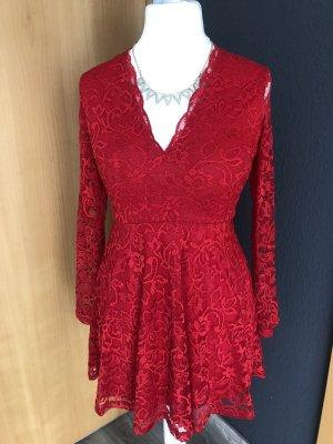 H&M Kanten jurk rood
