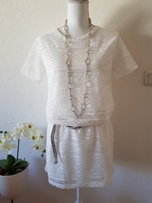 Amisu Kanten jurk wit-licht beige Polyester