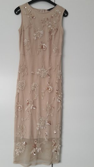 Spitzenkleid/Etuikleid NEU !!! mit Perlen und Steinchen in nude/rose, Gr. 34