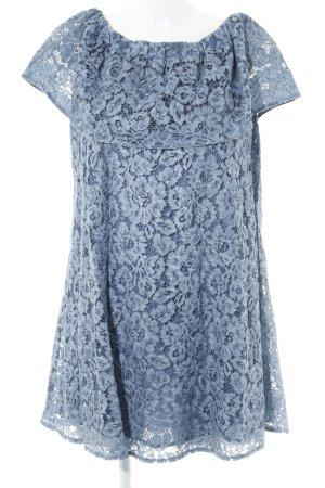 Kanten jurk leigrijs-lichtblauw kleurverloop casual uitstraling