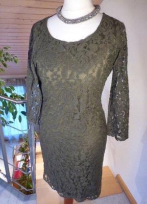 Spitzenkleid in Oliv- Grün Party Dress * Etui Kleid * Luxus Pur *S * Neu