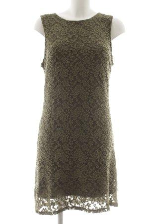 Spitzenkleid khaki florales Muster Netz-Optik