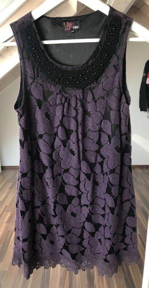Spitzenkleid kurz in lila/schwarz