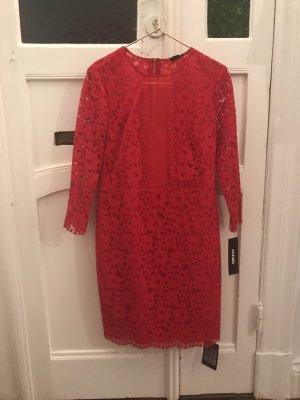 Spitzenkleid Lace Dress in Rot von DKNY Donna Karen NY Minikleid Hochzeitskleid