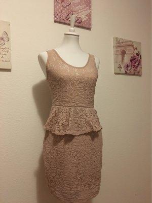 Stradivarius Peplum Dress dusky pink-pink