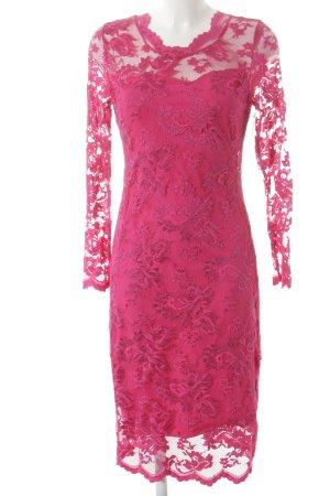 Spitzenkleid pink Lochstrickmuster Elegant