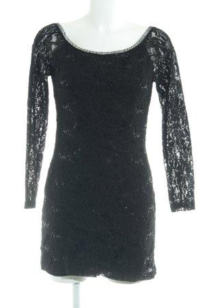 Vestido de encaje negro estampado floral Apariencia de encaje