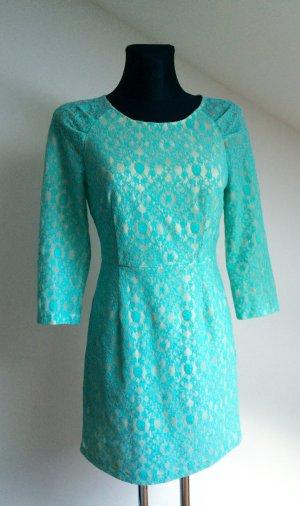 Spitzenkleid, türkises Kleid, elegantes Kleid